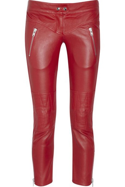 pants red leather pants