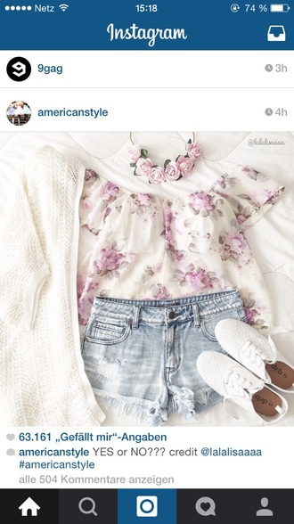 blouse flowers crop tops summer top shoes