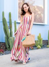 jewels,dress,long dress,stripes,multicolor dres,colorful,necklace,earrings,bag,shoes
