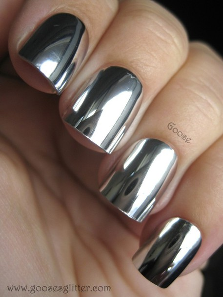 Nail polish: silver metallic nail pollish, cute nails, shiny ...