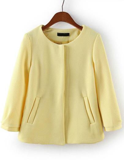 Yellow Round Neck Pockets Crop Coat - Sheinside.com