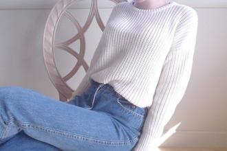 sweater jumper warm cozy jeans pale blue jeans atropina white grunge american apparel blue pale grunge light sweater tumblr sweater grunge sweater