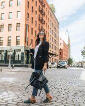 bag,black bag,handbag,leather bag,jeans,mules,blazer,sweater,sunglasses