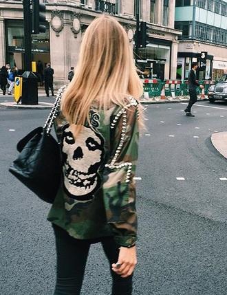 jacket skull jacket army green jacket army green military style skull