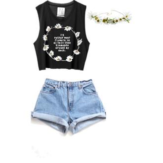 tank top shorts tee-shirt jewels
