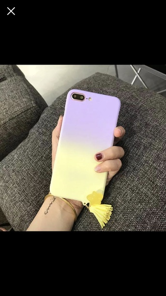 phone cover yellow purple tassel