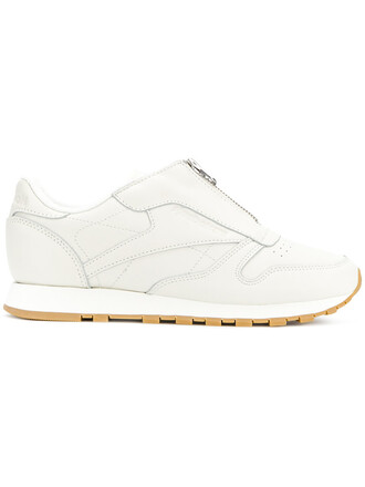 zip women classic sneakers leather white cotton shoes