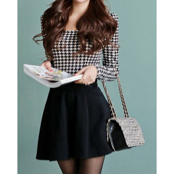 long sleeves black and white blouse blouse