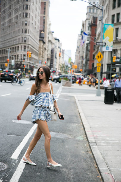 top tumblr off the shoulder off the shoulder top gingham matching set co ord shoes slingbacks flats shorts