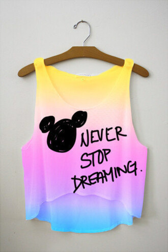 shirt clothes tank top freshtops crop tops disney cute tie dye dip dyed like mickey mouse t-shirt blouse top
