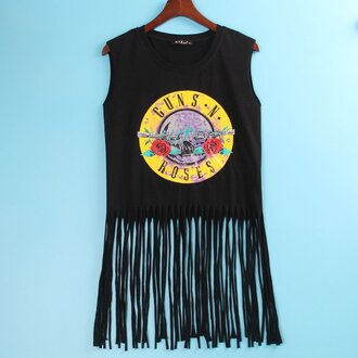 top guns and roses fringed top black rock punk rock rock band black top love summer