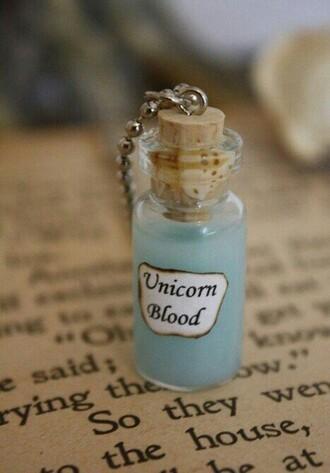 unicorn jewels blue cute blue liquid jewelry bottle blood