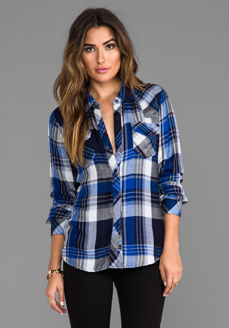 RAILS Kendra Button Down in Cobalt/Navy/White at Revolve Clothing - Free Shipping!