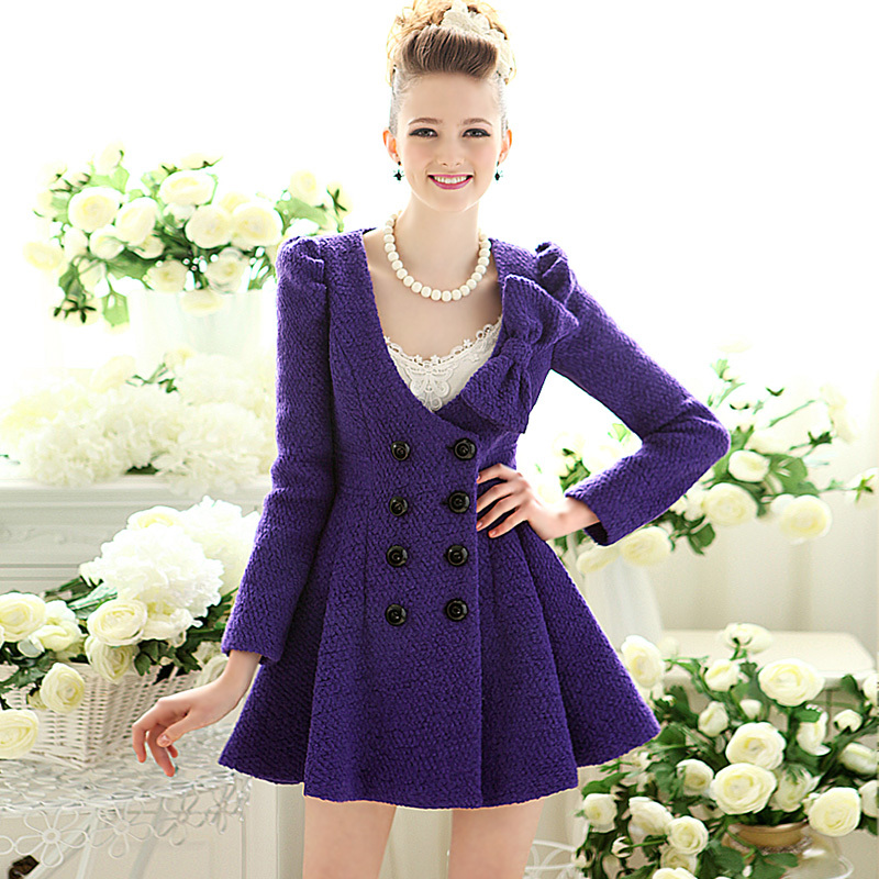 Woolen outerwear female autumn and winter sweet circle it slim waist bow double breasted wool coat-inWool & Blends from Apparel & Accessories on Aliexpress.com