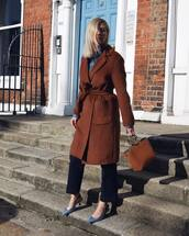 coat,wool coat,handbag,wide-leg pants,pumps,mid heel pumps,slingbacks,shirt