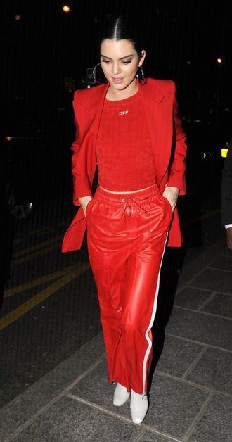pants sweater red jacket blazer model paris fashion week 2017 fashion week 2017 kendall jenner