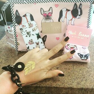 make-up yeah bunny phone cover makeup bag pugs frenchie dogs dog print