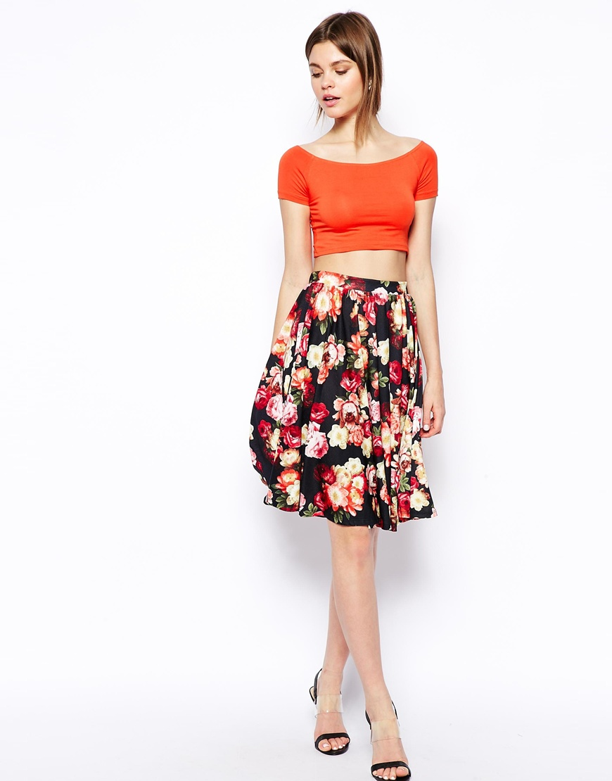 ASOS Midi Skirt In Floral Rose Print at asos.com