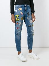 jeans,patch,embellished denim,ripped jeans,patched denim,hamburger,pop corn,lips