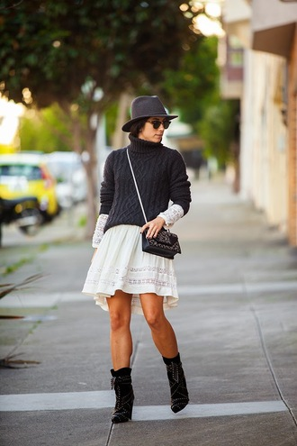 this time tomorrow blogger charcoal turtleneck cable knit white dress fedora