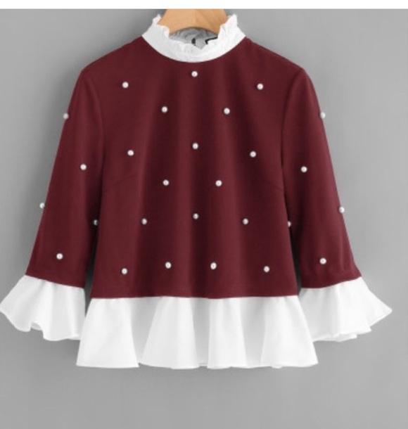 blouse red pearl jumper shirt dettail