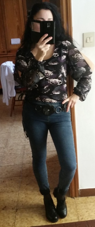 shirt shoes derbies jeans denim faux leather wide open sleeve