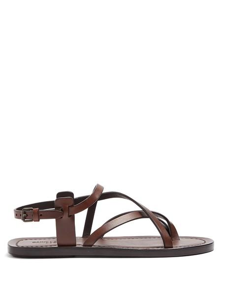 Saint Laurent cross sandals leather sandals leather dark brown shoes