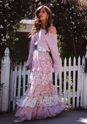 sweater maxi skirt maxi belt rocky barnes instagram spring outfits blogger romantic skirt