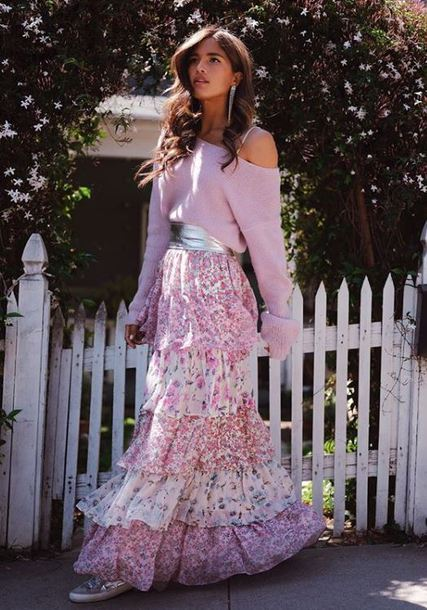 sweater maxi skirt maxi belt rocky barnes instagram spring outfits blogger romantic skirt