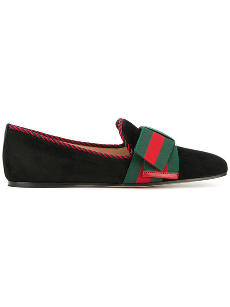 gucci bow women loafers leather suede black shoes
