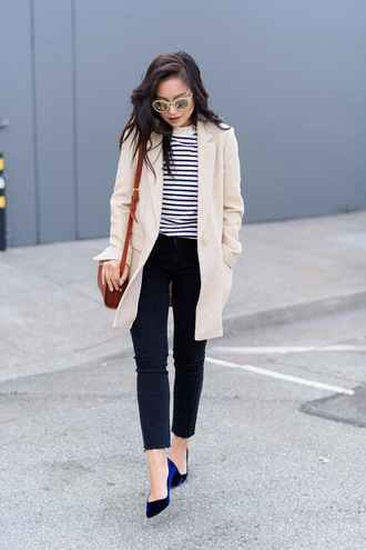 the fancy pants report blogger jeans striped top beige coat casual outfit idea cropped jeans office outfits