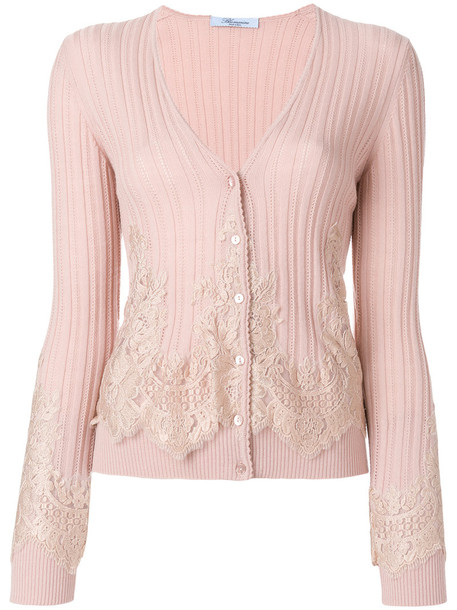 Blumarine cardigan cardigan women lace cotton wool purple pink sweater