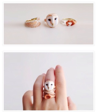 jewels cute owl hipster ring
