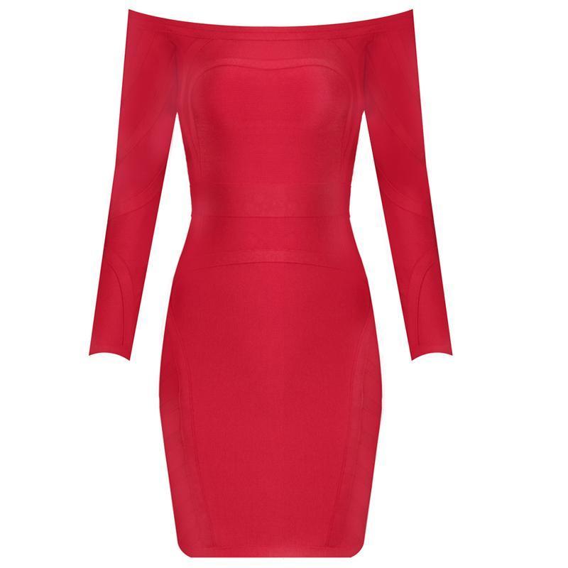Red dress off the shoulder pencil