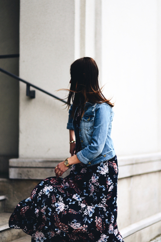 dress tumblr maxi dress long dress floral floral dress jacket denim jacket denim blue jacket spring outfits spring dress