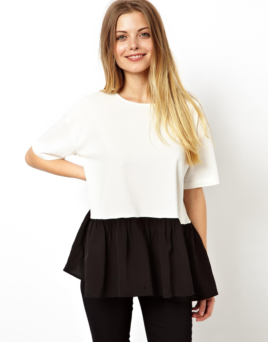 ASOS Oversized Smock T-Shirt with Woven Hem at asos.com