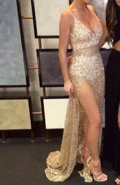 dress,alamour the label,sheer,gown,prom dress,gold dress