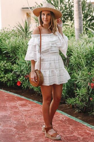 twenties girl style blogger shoes hat bag lace dress round bag wedges wedge sandals summer outfits