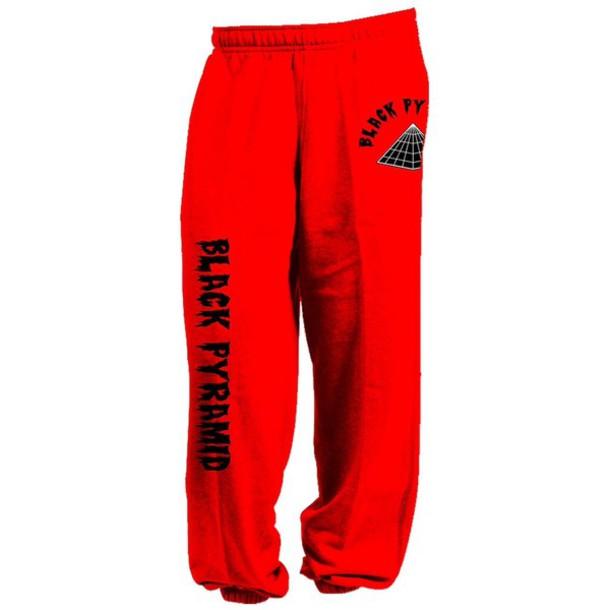 pants red black pyramid chris brown sweatpants