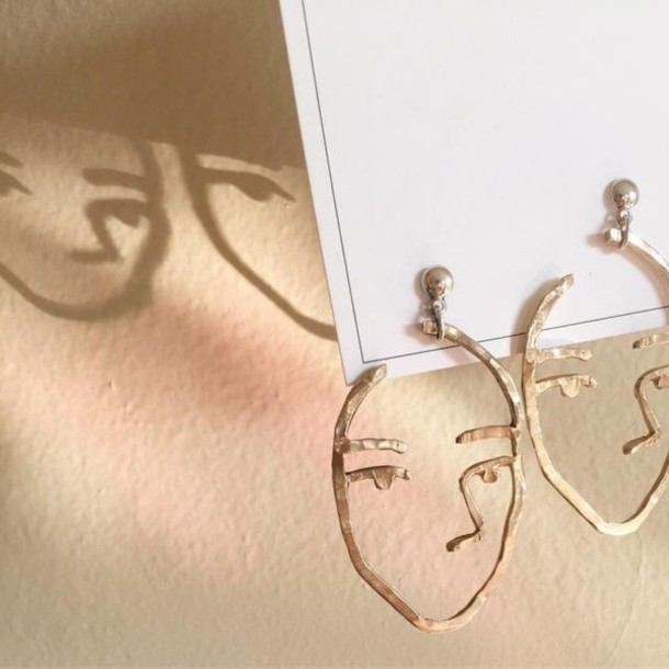 Line Drawing Face Earrings : Jewels face earrings silver gold