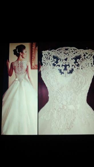 dress white dress wedding dress lace dress ball gown dress button up button back gown