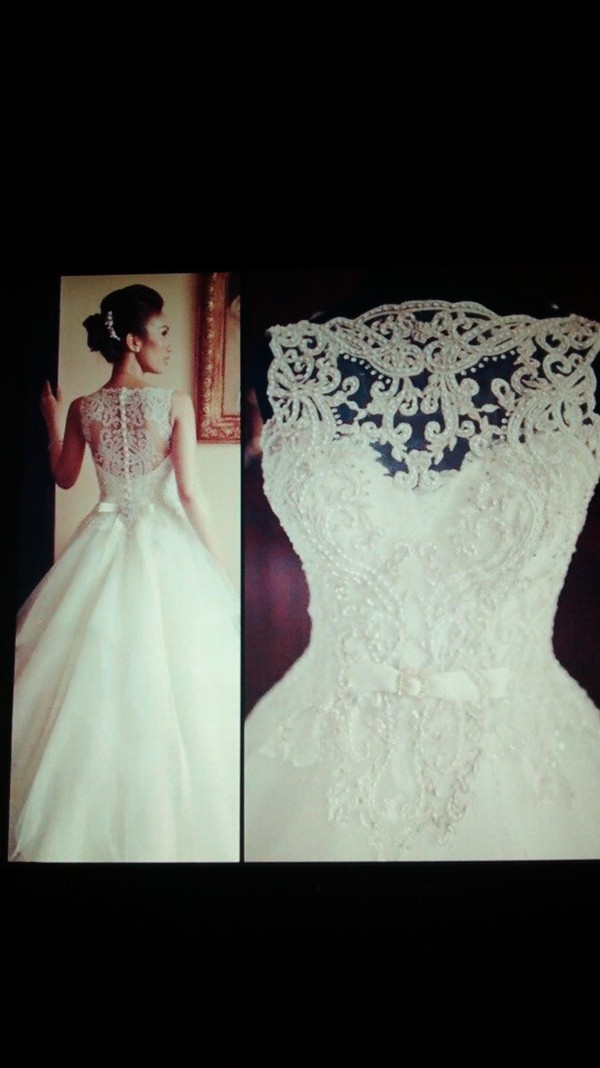dress white dress wedding dress lace dress ball gown dress button up button back gown
