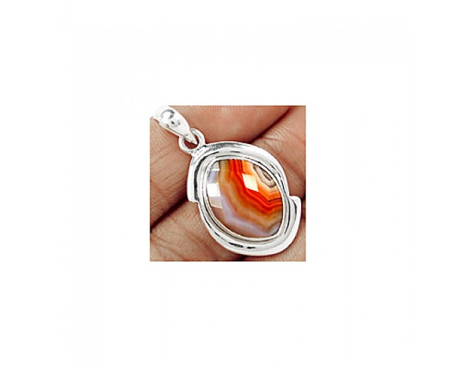 Handmade 925 sterling silver Faceted Botswana Agate Pendant