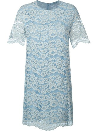 dress shift dress lace floral blue