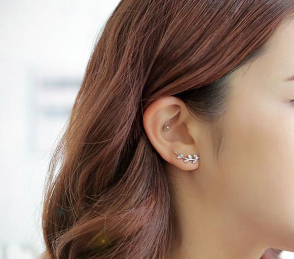 jewels earrings leaf earrings