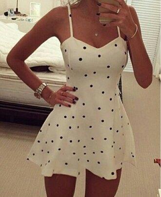 dress cute dress sexy dress summer dress polka dots top bottoms skirt spaghetti strap bralette beautiful fashion outfit girly sammydress cami vest tank top clothes