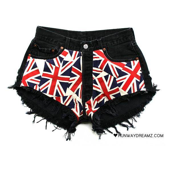 Kate Vintage Union Jack Black Frayed Shorts - Polyvore