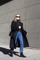 trini,blogger,sunglasses,coat,jeans,belt,shoes,bag,winter outfits,black coat,shoulder bag,gucci belt