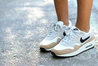 shoes nike air max nike air max 1 airmax one withe beige shoes