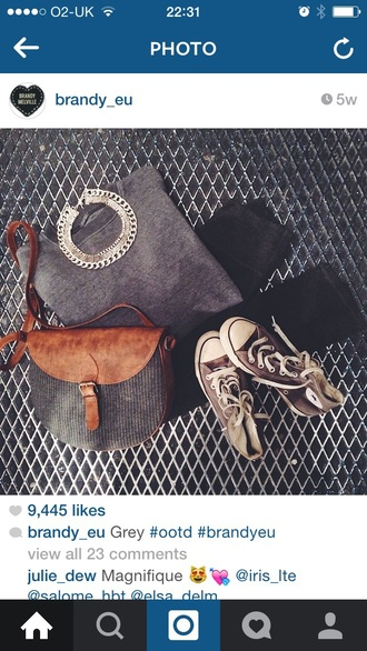 jewels necklace neck grey metal black fit fashion nice love converse jeans black jeans bag brown handbag purse ️style hair accessory sweater